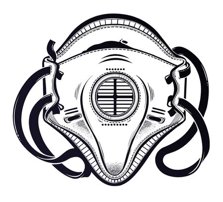 Symbol of a health crisis, disease outbreak as protective air respirator mask. Epidemic design, Human medical help art. Isolated vector illustration. Illustration