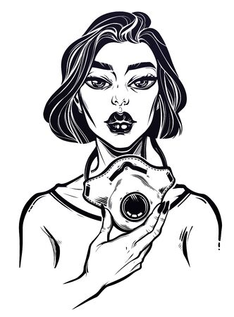 Woman putting on a medical mask raspirator. Symbol of awarness, solidarity and protection in a health crisis, epidemic virus disease outbreak. Vintage linear tattoo style. Isolated vector illustration