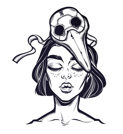Symbol of a health crisis, epidemic virus disease outbreak as a beautiful but sad woman with a plague doctor mask. Grief, vintage goththic tattoo style. Isolated vector illustration.
