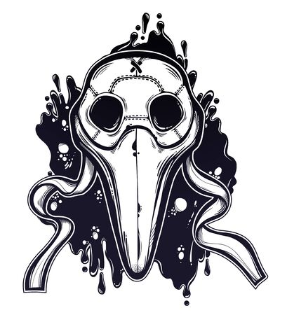 Symbol of a health crisis, biohazard, disease outbreak as plague doctor mask. Epidemic vintage design, vintage goththic tattoo style. Human medical history art. Isolated vector illustration. Illustration