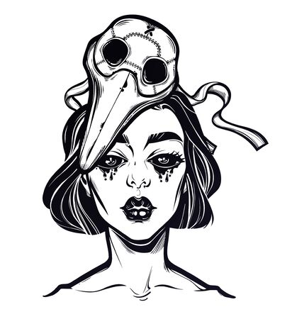 Symbol of a health crisis, epidemic virus disease outbreak as a sad monster woman with tears in a plague doctor mask. Grief, vintage goththic tattoo style. Zombie art. Isolated vector illustration.