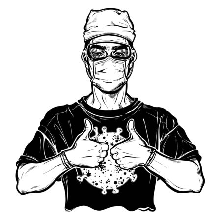 Pandemic prevention. Doctor in a medical mask, gloves and glasses with thumbs up. Symbol of awarness, healthcare protection in a health crisis, epidemic virus disease outbreak. Isolated vector art. 写真素材 - 143438475