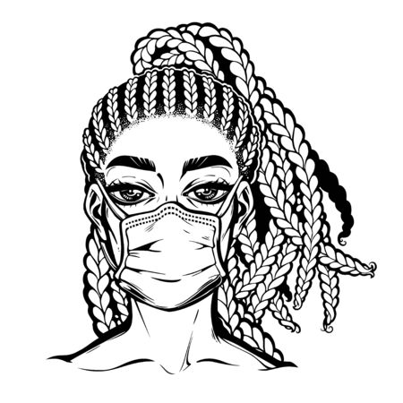 Pandemic prevention hygiene. Beautuful woman in a medical mask portrait. Symbol of awarness, healthcare solidarity and protection in a health crisis, epidemic virus disease outbreak. Isolated vector.