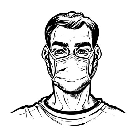 Pandemic prevention. Confident man in a medical mask portrait. Symbol of awarness, healthcare solidarity and protection in a health crisis, epidemic virus disease outbreak. Isolated vector.