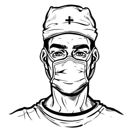 Pandemic prevention and hygiene. Doctor or nurse in a medical mask wearing a hat. Symbol of awarness, healthcare protection in a health crisis, epidemic virus disease outbreak. Isolated vector art.