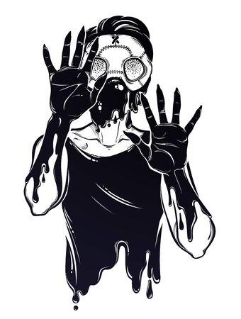 Symbol of a health crisis, epidemic virus disease outbreak as a rotting zombie monster in a mask. Pandemic design, vintage horror gothic tattoo style. Apocalypse art. Isolated vector illustration. Illustration