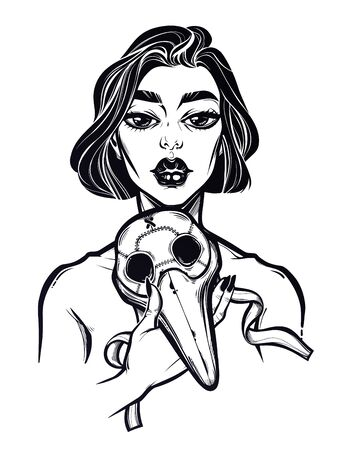 Beautiful but sad woman holding a plague doctor mask. Symbol of unity, solidarity and support in a health crisis, epidemic virus disease outbreak. Linear tattoo style. Isolated vector illustration. Illustration