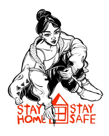Beautiful woman writing a message to the world to Stay Home. Social distancing in epidemic virus disease outbreak, health crisis. Awarness and protection. Vintage tattoo style. Isolated vector art. Illustration