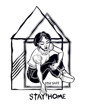 Beautiful woman drawing a stay home lettering. Social distancing in epidemic virus disease outbreak, health crisis. Awareness and protection. Vintage linear tattoo style. Isolated vector illustration Illustration
