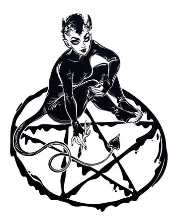 Beautiful witch imp woman drawing a pentagram. Magic gothic fantasy sorcerer conjuring. Halloween, tattoo, weirdm art for print, posters, t-shirts and textiles. Isolated vector illustration.