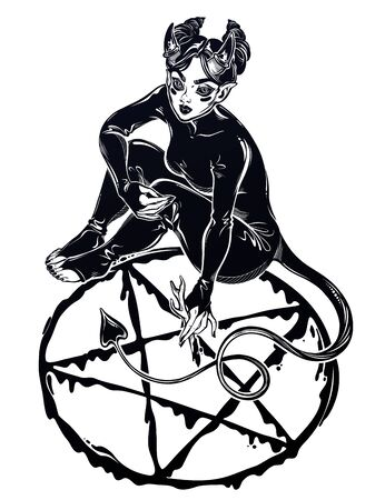 Beautiful witch imp woman drawing a pentagram. Magic gothic fantasy sorcerer conjuring. Halloween, tattoo, weird art for print, posters, t-shirts and textiles. Isolated vector illustration.  イラスト・ベクター素材