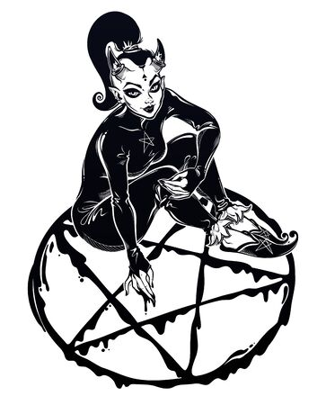 Beautiful witch imp woman drawing a pentagram. Magic gothic fantasy sorcerer conjuring. Halloween, tattoo, weird art for print, posters, t-shirts and textiles. Isolated vector illustration. 向量圖像