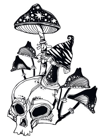 Hand drawn magic Skull with all mushrooms growing on and around it. Occult tripppy design, vintage gothic tattoo style. Zombie art. Isolated vector illustration. Illusztráció