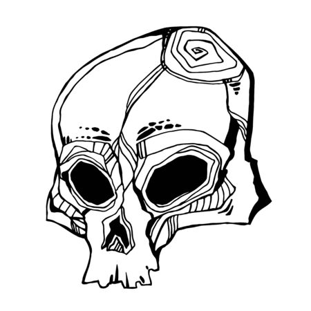 Hand drawn Skull - symbol of death. Occult design, vintage goththic tattoo style. Zombie art. Isolated vector illustration.