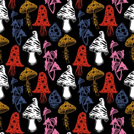 Magic psychedelic mushrooms seamless pattern. Occult tripppy ornament design, vintage gothic tattoo style. Nature and witchcraft art. Isolated vector background. 写真素材 - 150386968