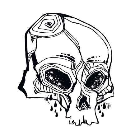 Hand drawn Skull crying tears - symbol of death. Occult design, vintage goththic tattoo style. Zombie art. Isolated vector illustration.  イラスト・ベクター素材