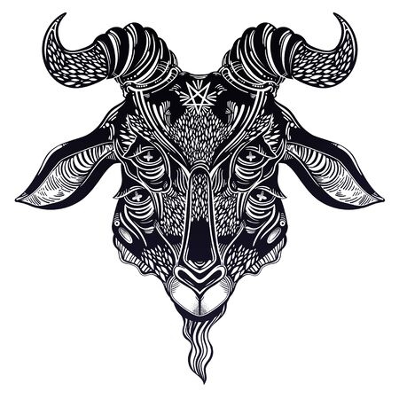 Pentagram in the head of demon Baphomet with four eyes. Ornate sacred goat head. Binary satanic symbol. Vector illustration isolated. Tattoo design, retro, music, summer, print symbol for hell themes.