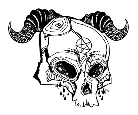 Pentagram in the head of demonic horned Skull crying tears - symbol of mystic. Occult design, vintage goththic tattoo style. Sorcery art. Isolated vector illustration. 写真素材 - 150386972