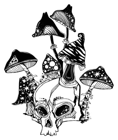 Hand drawn magic Skull with all mushrooms growing on and around it. Occult tripppy design, vintage gothic tattoo style. Zombie art. Isolated vector illustration.  イラスト・ベクター素材