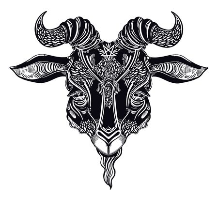 Pentagram in the head of demon Baphomet. Ornate sacred goat head. Binary satanic symbol. Vector illustration isolated. Tattoo design, retro, music, summer, print symbol for witchcraft themes.