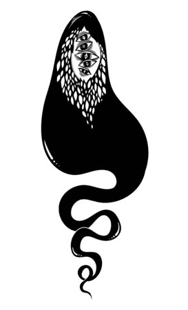 Creepy ghost soul or wandering spirit. Monster and Halloween symbol. Vector illustration isolated. Tattoo design, retro, music, summer, print symbol for witchcraft themes. 写真素材 - 150386976