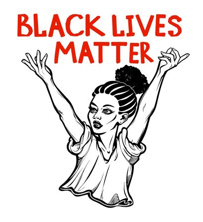 Strong and beautiful African American woman expressing her opinion with message Black Lives Matter . Female human rights activist, isolated vector art.  イラスト・ベクター素材