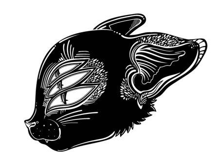 Creepy ghost black cat or magic kitten spirit with three eyes. Monster and Halloween symbol. Vector illustration isolated. Tattoo design, retro, music, summer, print symbol for witchcraft themes. Illusztráció