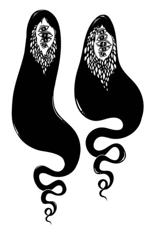 Creepy ghost souls or wandering spirits. Monster and Halloween symbol. Vector illustration isolated. Tattoo design, retro, music, summer, print symbol for witchcraft themes. Ilustrace