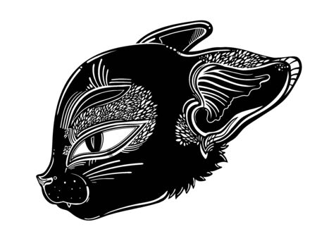 Cute black cat or kitten head portrait. Vector illustration isolated. Tattoo design, retro, music, summer, print symbol for witchcraft themes.  イラスト・ベクター素材