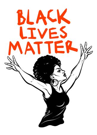 Confident and beautiful African American woman expressing her opinion with message Black Lives Matter . Female human rights activist, isolated vector art. 写真素材 - 150386984