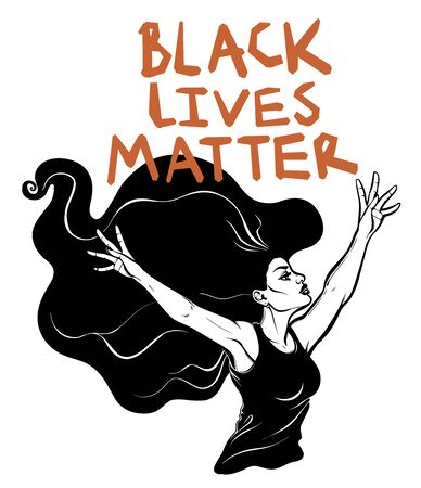 Confident and beautiful woman with long hair expressing her opinion with message Black Lives Matter. Female human rights activist, isolated vector art.