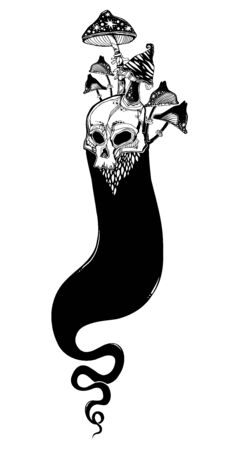Creepy ghost soul or wandering spirit with face of human skull. with mushrooms Monster and Halloween symbol. Vector illustration print symbol for witchcraft themes.stration isolated. Tattoo de Illusztráció