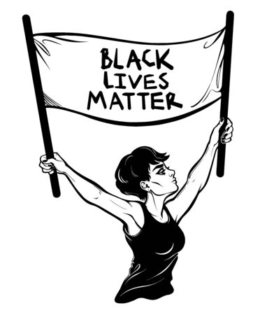 Confident and beautiful modern woman expressing her support of racial equality holding the flag Black Lives Matter. Female human rights activist, isolated vector art.  イラスト・ベクター素材