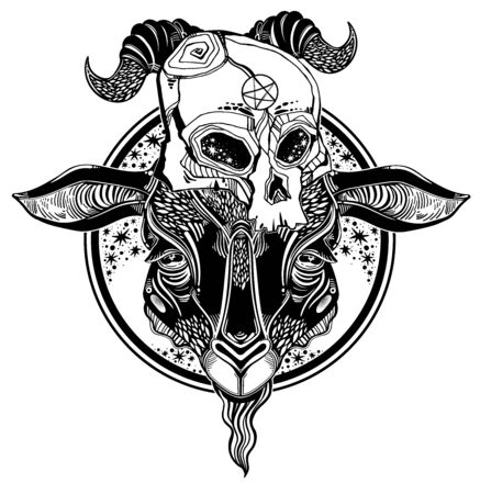 Pentagram in the head of demon Baphomet with a human skull. Ornate sacred goat head symbol. Vector illustration isolated. Tattoo design, retro, music, summer, print symbol for witchcraft themes.