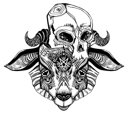 Pentagram in the head of demon Baphomet with a human skull. Ornate sacred goat head symbol. Vector illustration isolated. Tattoo design, retro, music, summer, print symbol for witchcraft themes. 写真素材 - 150386992