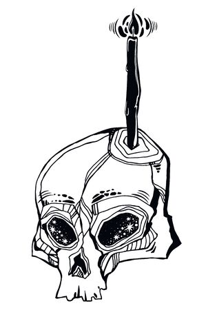 Hand drawn Skull with a candle - symbol of death. Occult design, vintage goththic tattoo style. Zombie art. Isolated vector illustration.  イラスト・ベクター素材