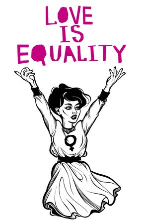 Strong and beautiful young Feminist woman expressing her opinion with message Love Is Equality. Female human rights activist, isolated vector art.