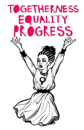 Strong and beautiful African American Feminist woman expressing her opinion with message Togetherness, Equality, Progress. Female human rights activist, isolated vector art.