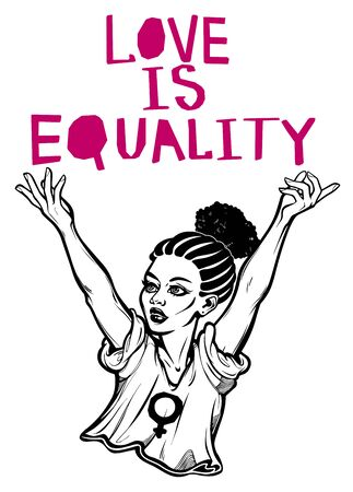Strong and beautiful African American Feminist woman expressing her opinion with message Love Is Equality. Female human rights activist, isolated vector art. Illusztráció