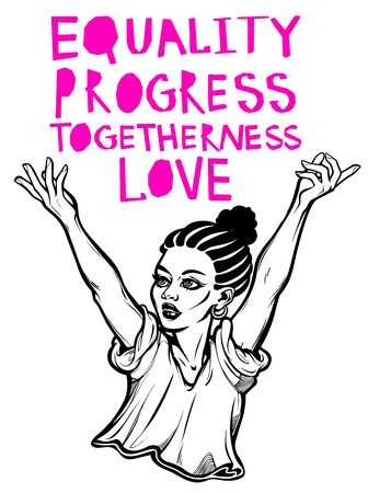 Strong and beautiful African American woman expressing her opinion with message Love Is Equality Progress Togetherness Love. Female human rights activist, isolated vector art. Illusztráció