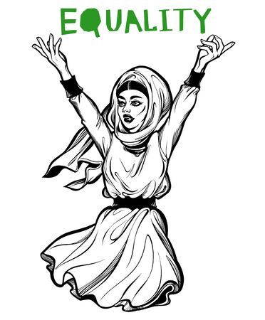 Beautiful and confident African American Muslim woman expressing her opinion with message Equality. Female human rights activist, isolated vector art.  イラスト・ベクター素材