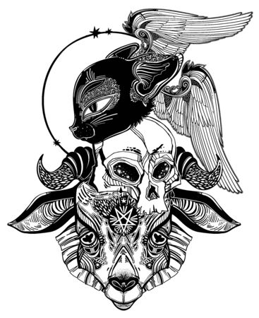 Pentagram in the head of demon Baphomet with a human skull and a black cat. Ornate sacred goat head symbol. Vector illustration isolated. Tattoo design print symbol for witchcraft themes.