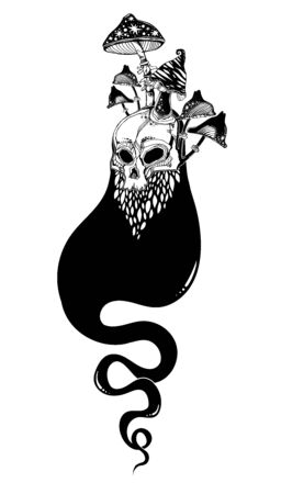 Creepy ghost soul or wandering spirit with face of human skull. Monster and Halloween symbol. Vector illustration isolated. Tattoo design, retro, music, summer, print symbol for witchcraft themes.