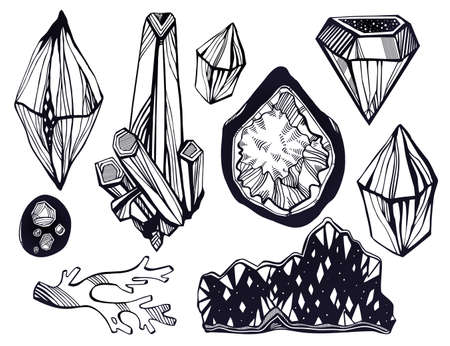 Set of artistic linear wild nature minerals, crystal gems and rock stones. For science, geology and healing, spirituality yoga. Vector isolated hand drawn illustration. 写真素材 - 151533391
