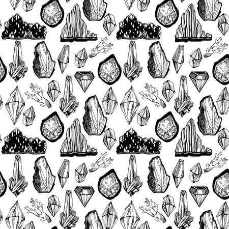 Artistic linear wild minerals, crystal gems and rock stones seamless pattern. For science, geology and healing spirituality ornament design. Nature and witchcraft art. Isolated vector background. 写真素材 - 151533396