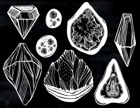 Set of artistic linear wild nature minerals, crystal gems and rock stones. For science, geology and healing, spirituality yoga. Vector isolated hand drawn illustration.