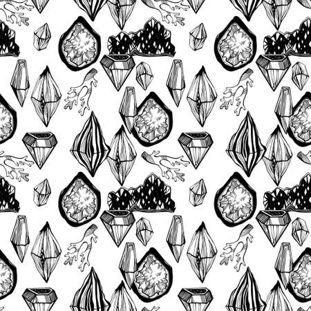 Artistic linear wild minerals, crystal gems and rock stones seamless pattern. For science, geology and healing spirituality ornament design. Nature and witchcraft art. Isolated vector background.