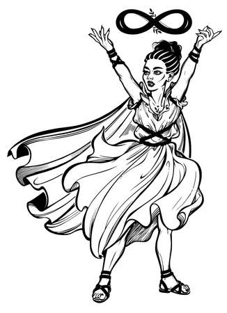 Female goddess of wisdom with a sign of infinity. Magic diety, sacred woman. Spirituality, tattoo art for print, posters, t-shirts and textiles. Isolated vector illustration. 向量圖像