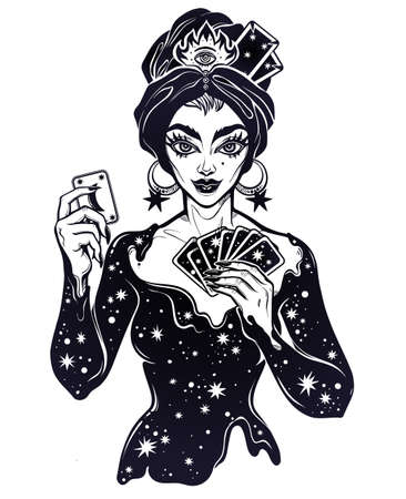 Fortune teller supernatural spiritual woman holding a magic lucky card in her hands. Psychic future predictions. Tattoo black work design, retro style, occultism, symbol for witchcraft themes.