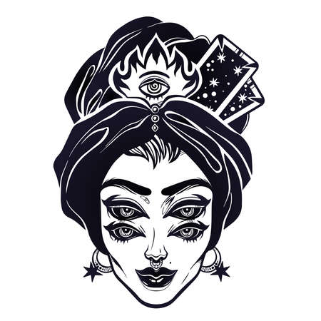 Fortune teller supernatural spiritual woman portrait with headwrap and four eyes. Ideal Halloween, tattoo, weird, psychedelic art for print, posters, t-shirts and textiles. Vector illustration. 向量圖像